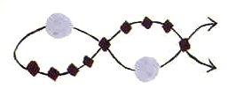 Схема плетения простого  браслета из бисера.